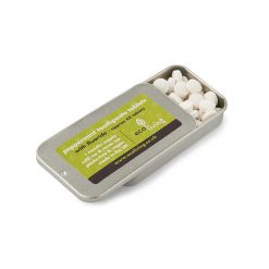 ecoliving toothpaste tablets with a metal tin