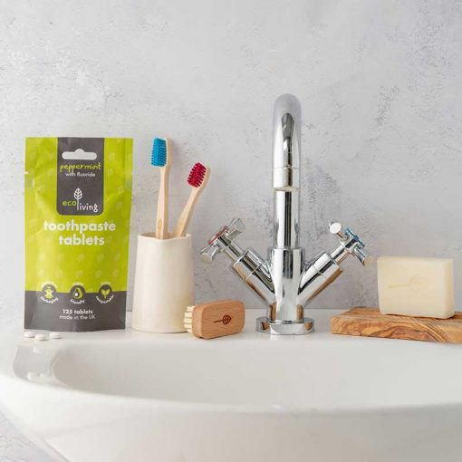 ecoliving toothpaste tablets in a bathroom