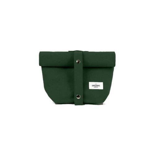 dark green canvas lunch bag