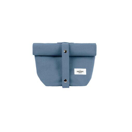 grey blue canvas lunch bag