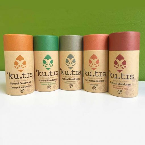 vegan deodorant in 5 scents on a white table