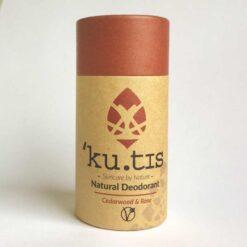 natural vegan deodorant scented with cedarwood and rose