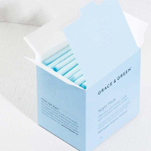 opened box full of organic cotton period pads