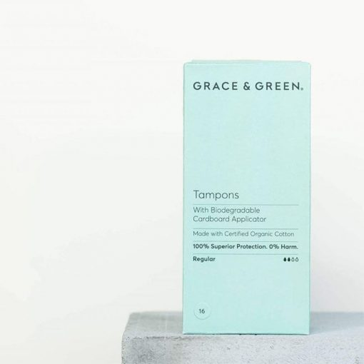 plastic free tampons with applicator in a green box