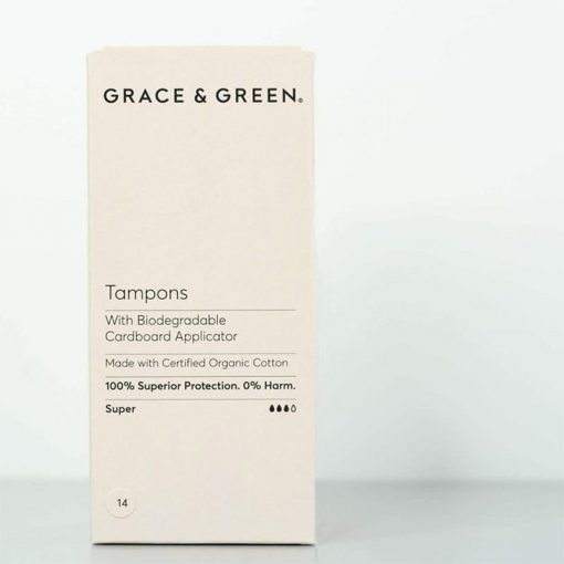 plastic free tampons with applicator in cream coloured box