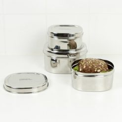 food containers set with snacks inside