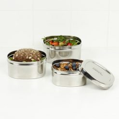 set of 3 square stainless steel containers filled with lunch