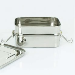 two tier lunch box with lid off
