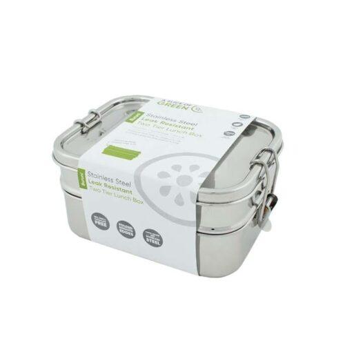 two tier lunch box in cardboard packaging