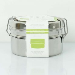 round stainless steel lunch box in cardboard packaging