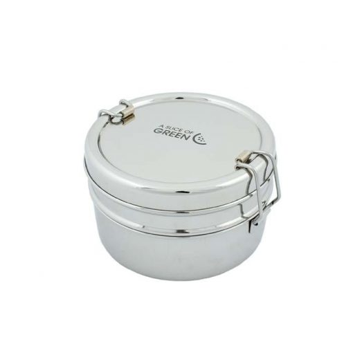 two tier stainless steel lunch box with clip closure