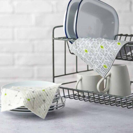eco friendly kitchen cloths on kitchen draining board