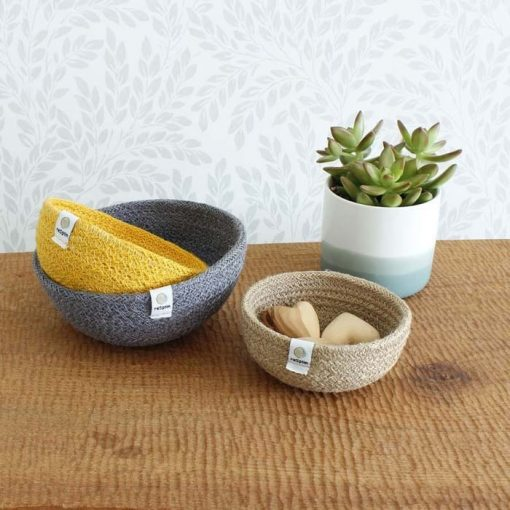 jute bowls set of 3 net to potted plant