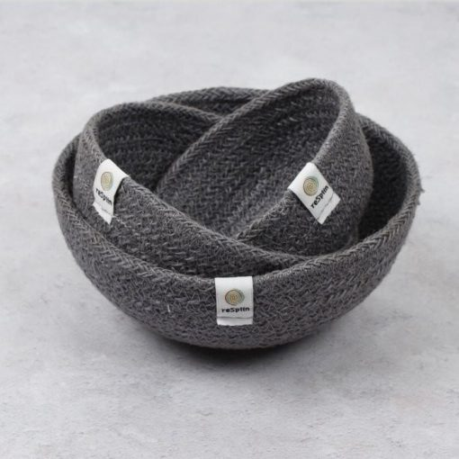 fabric bowls set of 3 in grey fabric
