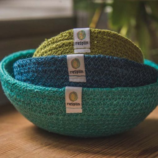 3 fabric bowls in ocean colours