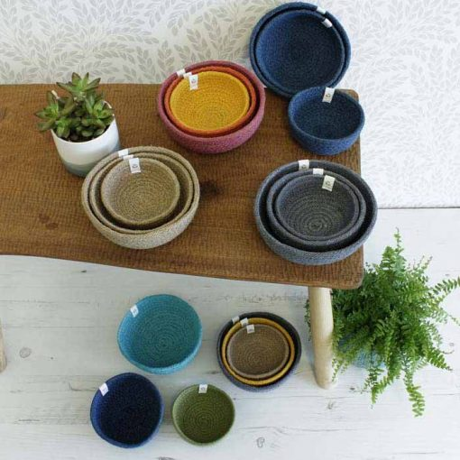 fabric bowls laid across a table