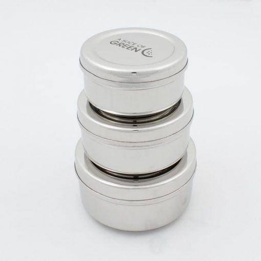 3 round stainless steel food containers stacked on top of each other