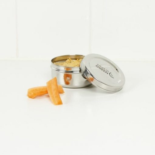 Round Stainless Steel Container displayed with houmous inside