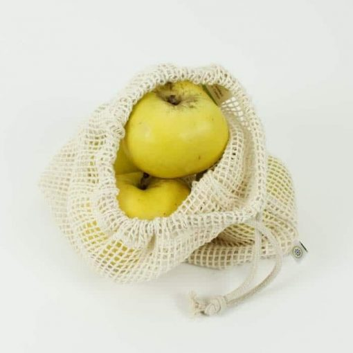 reusable Cotton Mesh Produce Bag with apples in