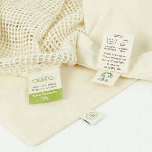 Cotton Mesh Produce Bags with label on the inside