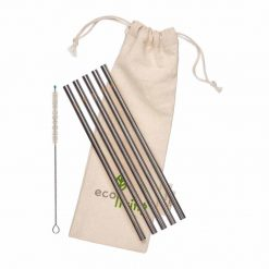 stainless steel drinking straws 5 pack with cotton pouch