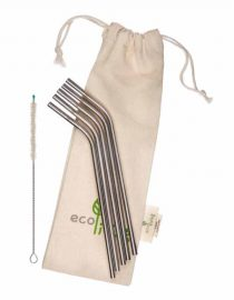 stainless steel straws with organic cotton pouch