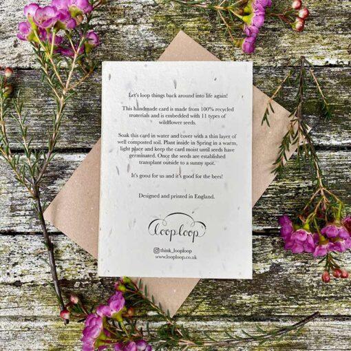 Rear of a handmade, plantable card