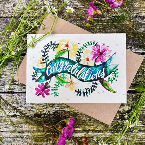 congratulations print wildflower seeed card