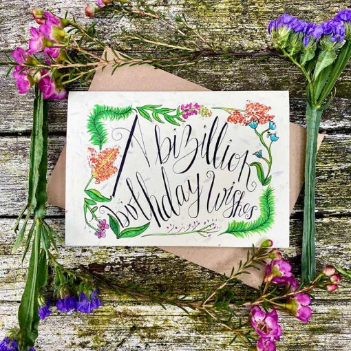 wildflower card with birthday print on the front