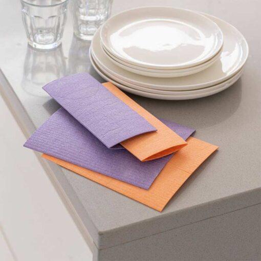 biodegradable sponge cloths laid on a table