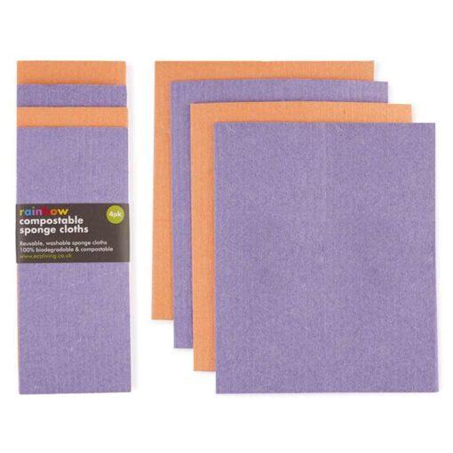 biodegradable sponge cloths in purple