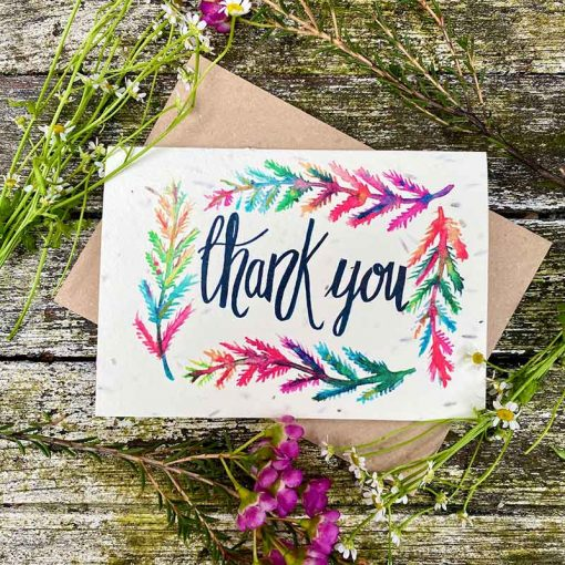 plantable thank you card in bright colours