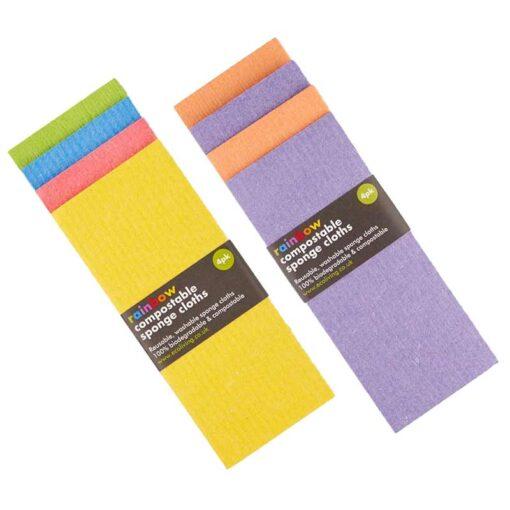 biodegradable sponge cloths in bright colours