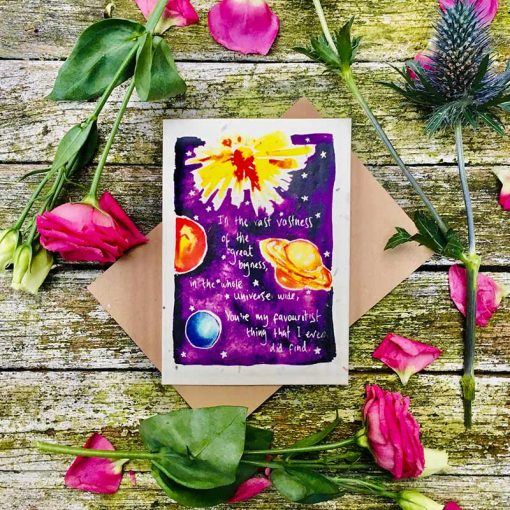 plantable wildflower card with a universe poem