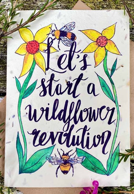 wild flower card with colourful print