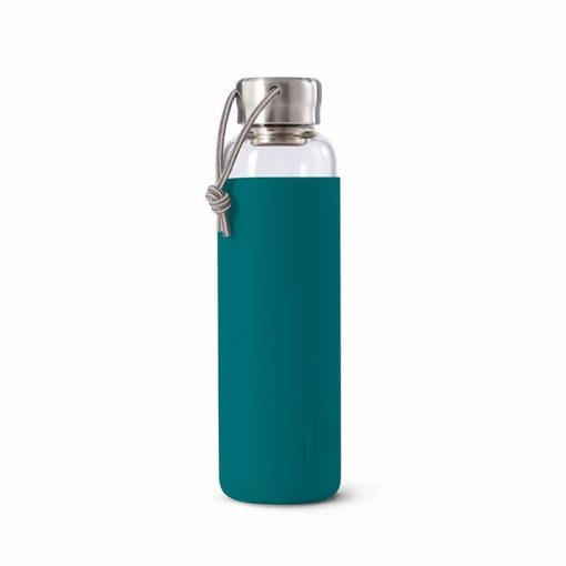 glass water bottle with coral sleeve