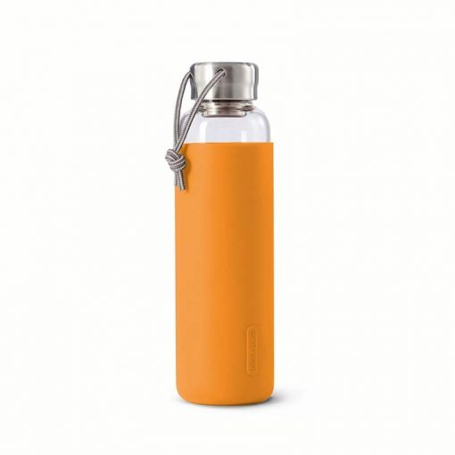 glass water bottle with orange sleeve