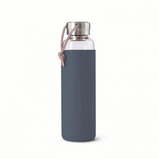 glass water bottle with slate colour sleeve