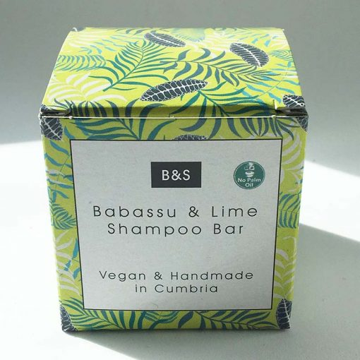 babassu and lime shampoo bar in packaging