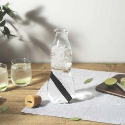 glass carafe on a table