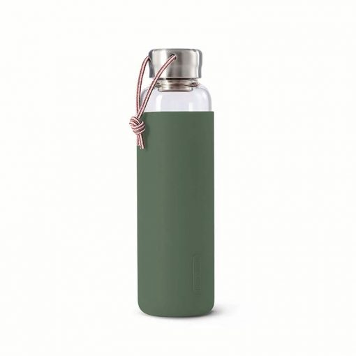 glass water bottle with olive colour sleeve