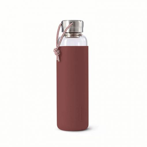 glass water bottle with burgundy sleeve