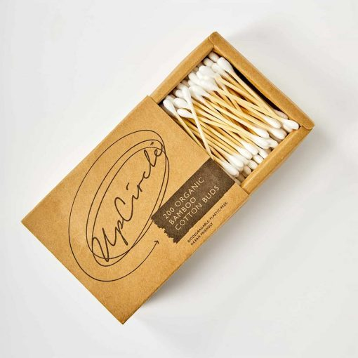 organic bamboo cotton buds in a box