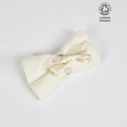 organic muslin cloths with a bow