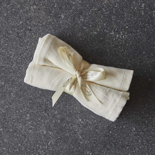 organic muslin cloths on stone worktop