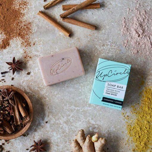 organic soap bar on table spread