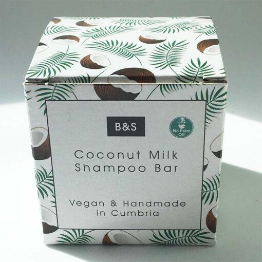coconut milk shampoo bar in cardboard packaging