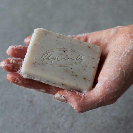 Organic Chai Soap Bar in ladies hand