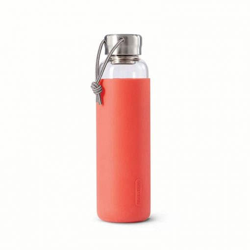 glass water bottle in coral