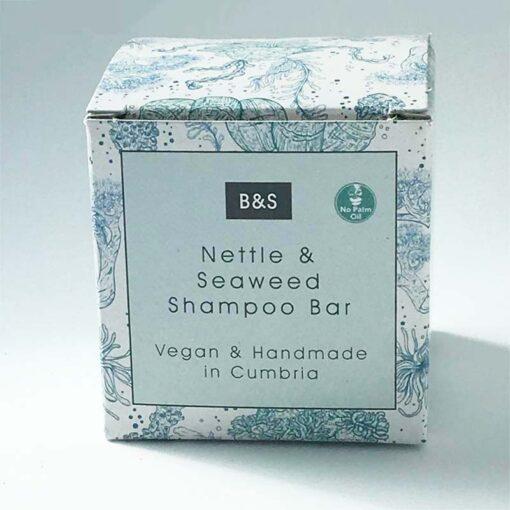 seaweed powder shampoo bar in cardboard packaging